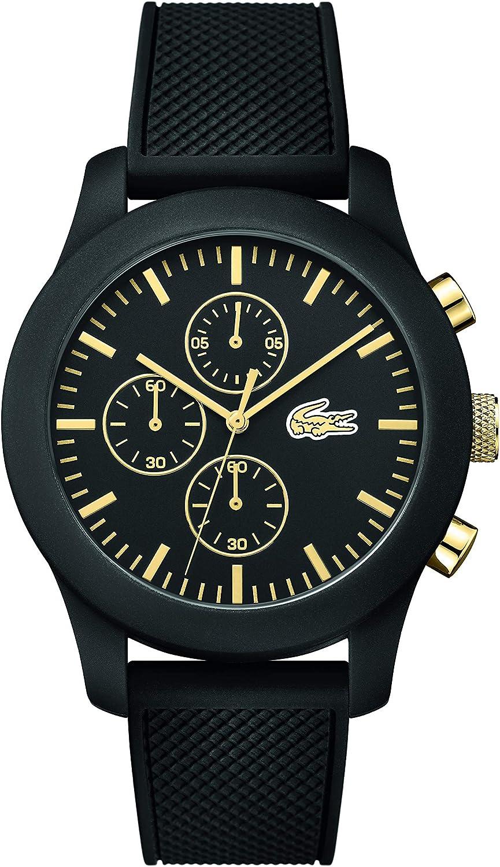 Lacoste 2010826 - Reloj analógico de pulsera para hombre, esfera con cronógrafo, correa de silicona,Negro (Negro/Oro)