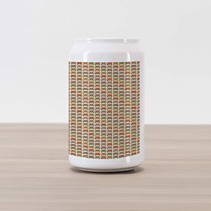 Ambesonne Retro Cola Can Shape Piggy Bank, Old Audio Cassettes Vintage Elements Listening to Music