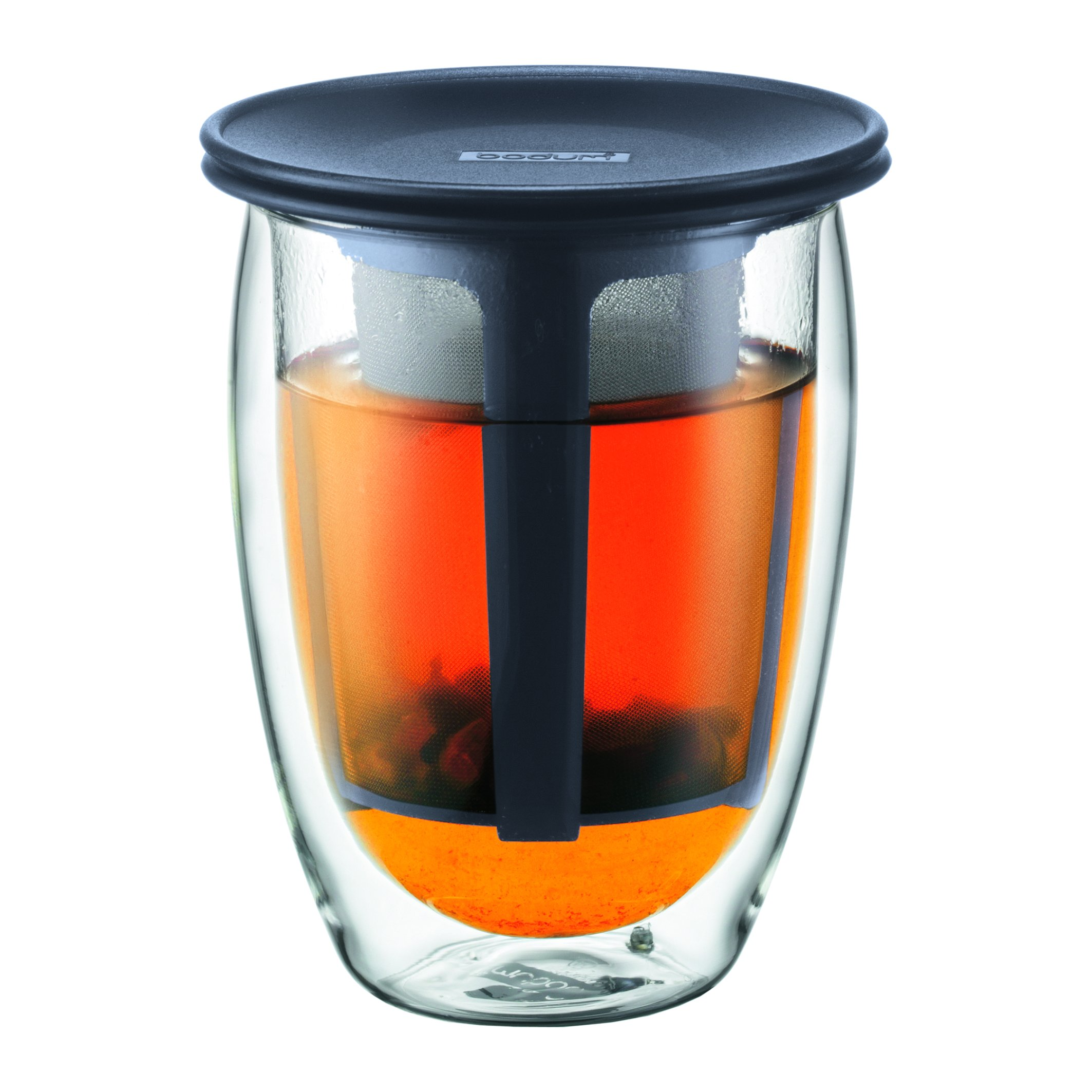 Bodum 12-Ounce Tea for One, Double Wall Glass with Strainer, Black