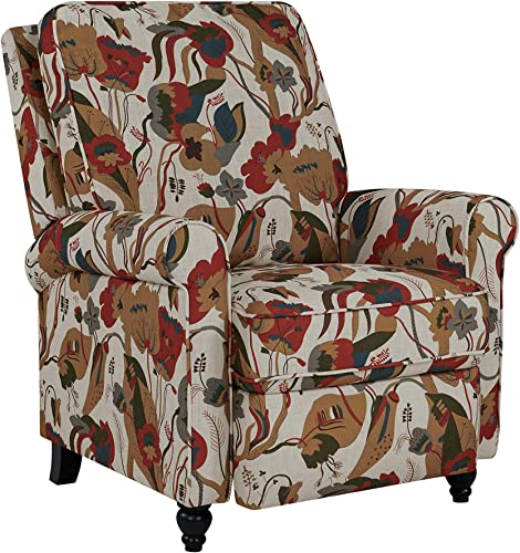 Domesis Chester – Fabric Hill -ush Back Recliner Chair, Warm Multi-Floral
