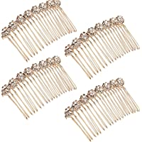 Rhinestone Alloy Flower Hair Side Combs Wedding Bridal Jewelry Hair Clips, Pack of 4