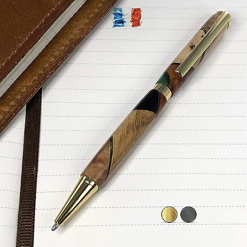 Bolígrafo de madera preciosa y resina fabricado a mano en Francia. Grabado personalizado. Con caja de regalo.: Amazon.es: Handmade