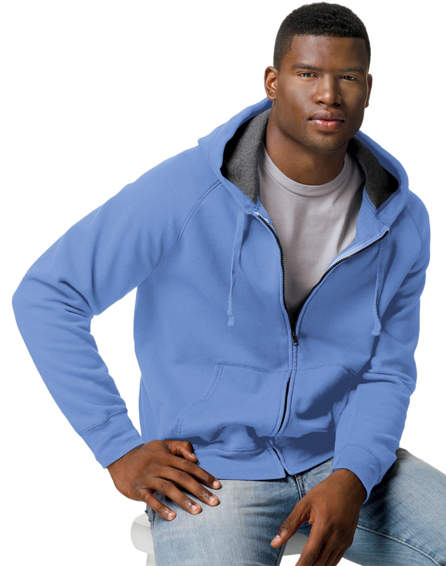Hanes Mens Nano Premium Lightweight Full Zip Hoodie,Vintage Blue,X-Large