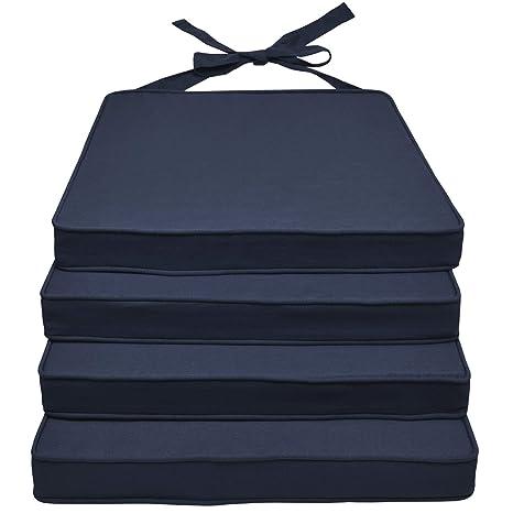 Beautissu Loft SK Set de 4 Cojines Almohadas para sillas Asientos 45x40x5 Azul Oscuro Elegantes y