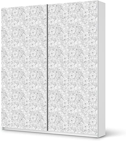 Papel de aluminio IKEA PAX armario de 236 cm de altura - puerta corredera/pegatinas de flores de diseño de líneas abstractas 1/de la decoración element: Amazon.es: Hogar