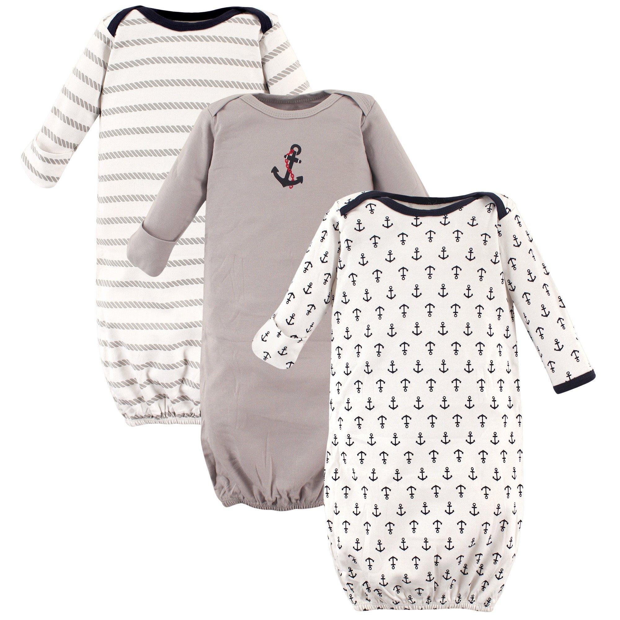 Luvable Friends Unisex 3 Pack Cotton Gown, Boy Nautical, 0-6 Months