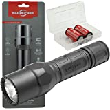 SureFire G2X Tactical 600 Lumen EDC Flashlight Bundle with 2x Extra SureFire CR123A and Lightjunction Battery Case…