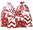 6 PCs Christmas Fabric Gift Bags Red Elegant Color with 3 Sizes for Christmas Season, Holiday Gift Giving, Holiday Presents Décor, Giant Gifts Decorations.