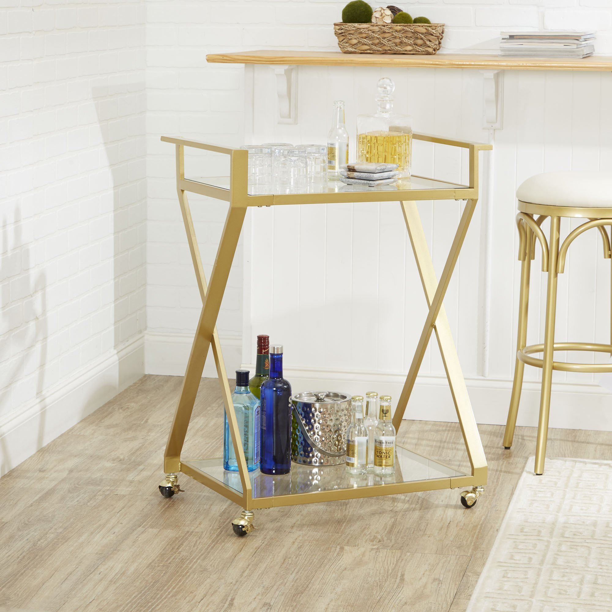Silverwood CPFS1255-G-SG Serving Cart, 16 L X 26 W X 34 H in in, Gold by Silverwood