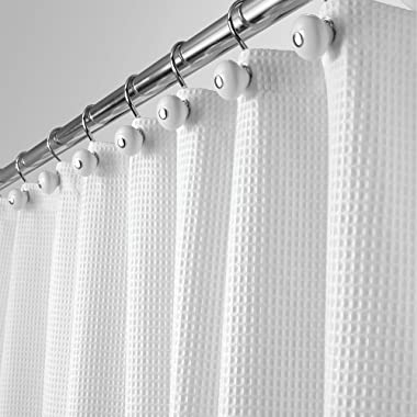 mDesign Long Hotel Quality Polyester/Cotton Blend Fabric Shower Curtain Waffle Weave Rustproof Metal Grommets Bathroom Showers Bathtubs, 72  x 84  - White