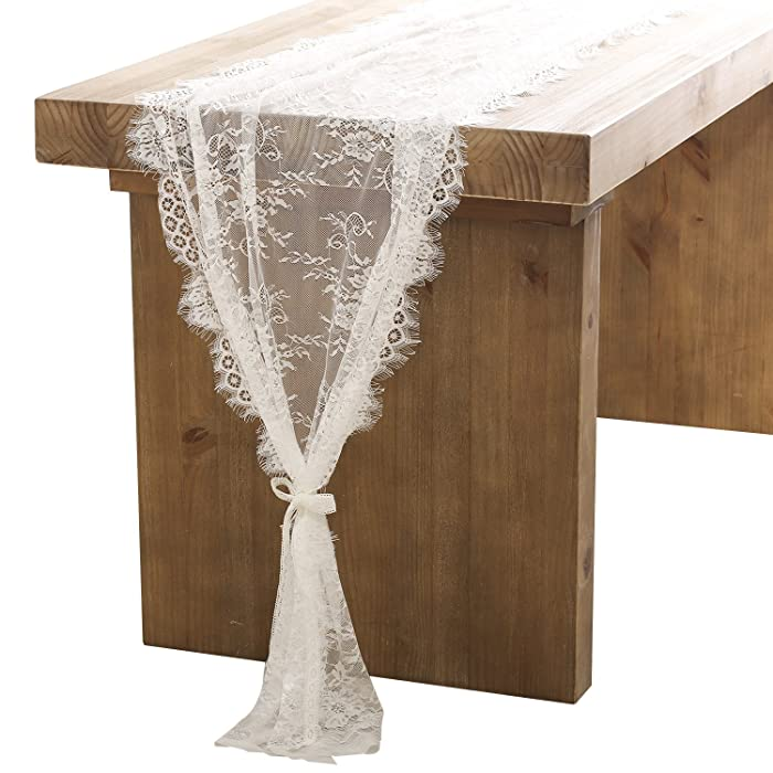Ling's moment 32x120 Inches White Lace Table Runner Overlay Rustic Chic Wedding Reception Table Decor Boho Party Decoration Thanksgiving Placemats