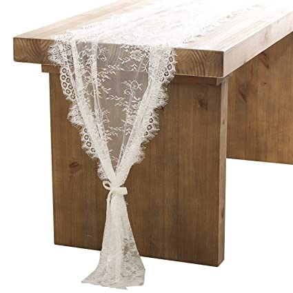 Amazon lings moment 32x120 inches white lace table runner lings moment 32x120 inches white lace table runneroverlay rustic chic wedding reception table junglespirit Choice Image