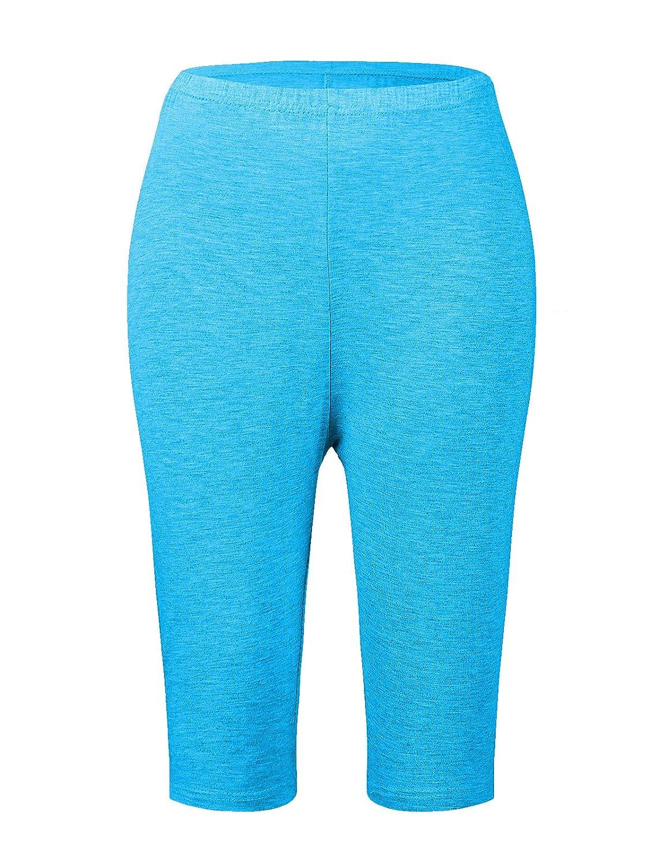 628cf8d0e1009 Passionate Adventure Women s Ultra Soft Bamboo Fibre Basic Shorts Cropped  Bike Yoga Leggings Plus Size at Amazon Women s Clothing store