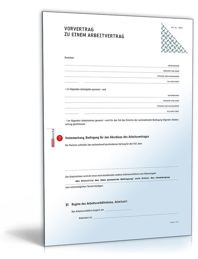 Vorvertrag Arbeitsvertrag Pdf Download Download Amazonde Software