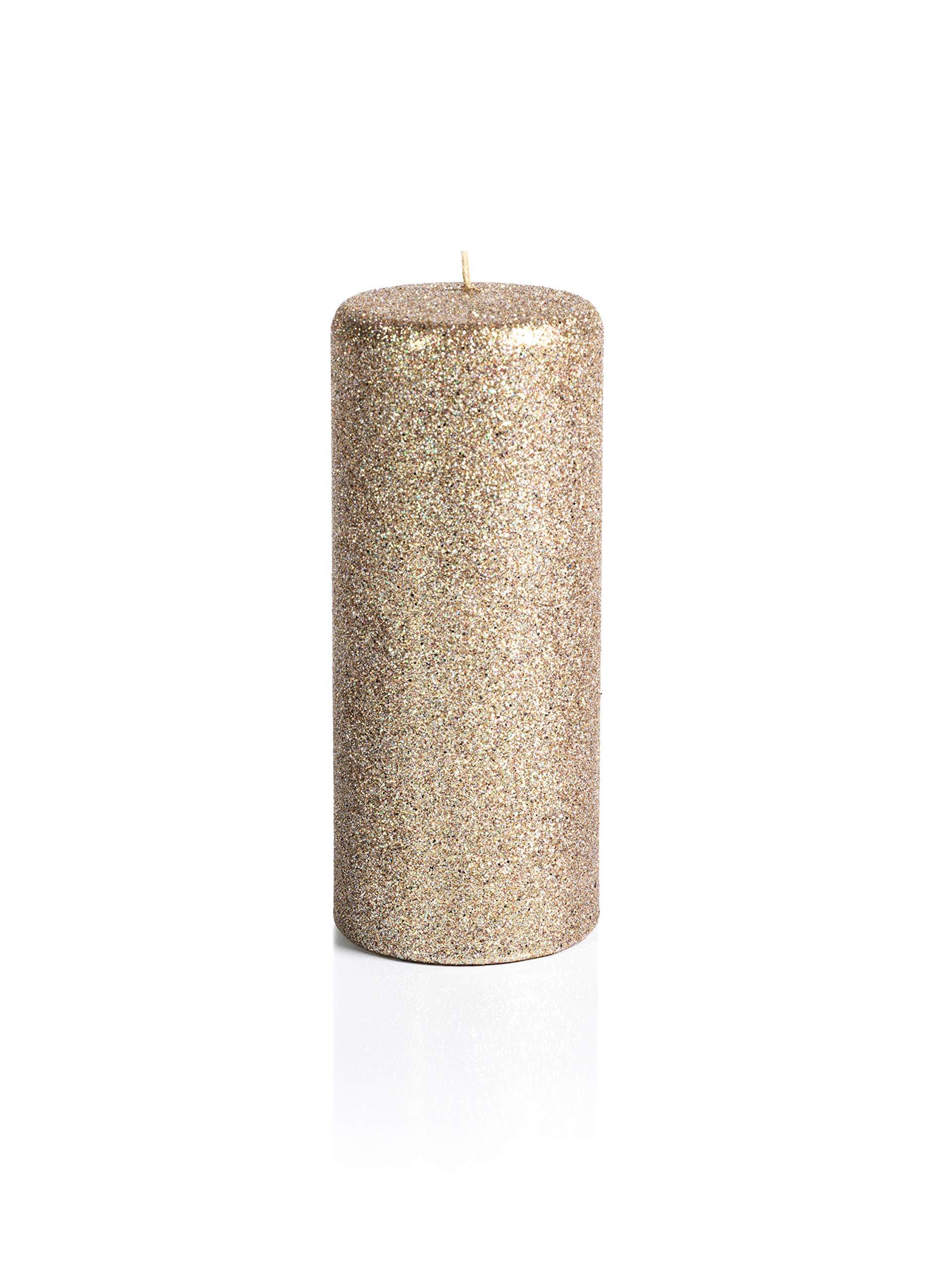 Zodax 7'' Tall Wax Pillar, Gold Glitter (Set of 2) Candles