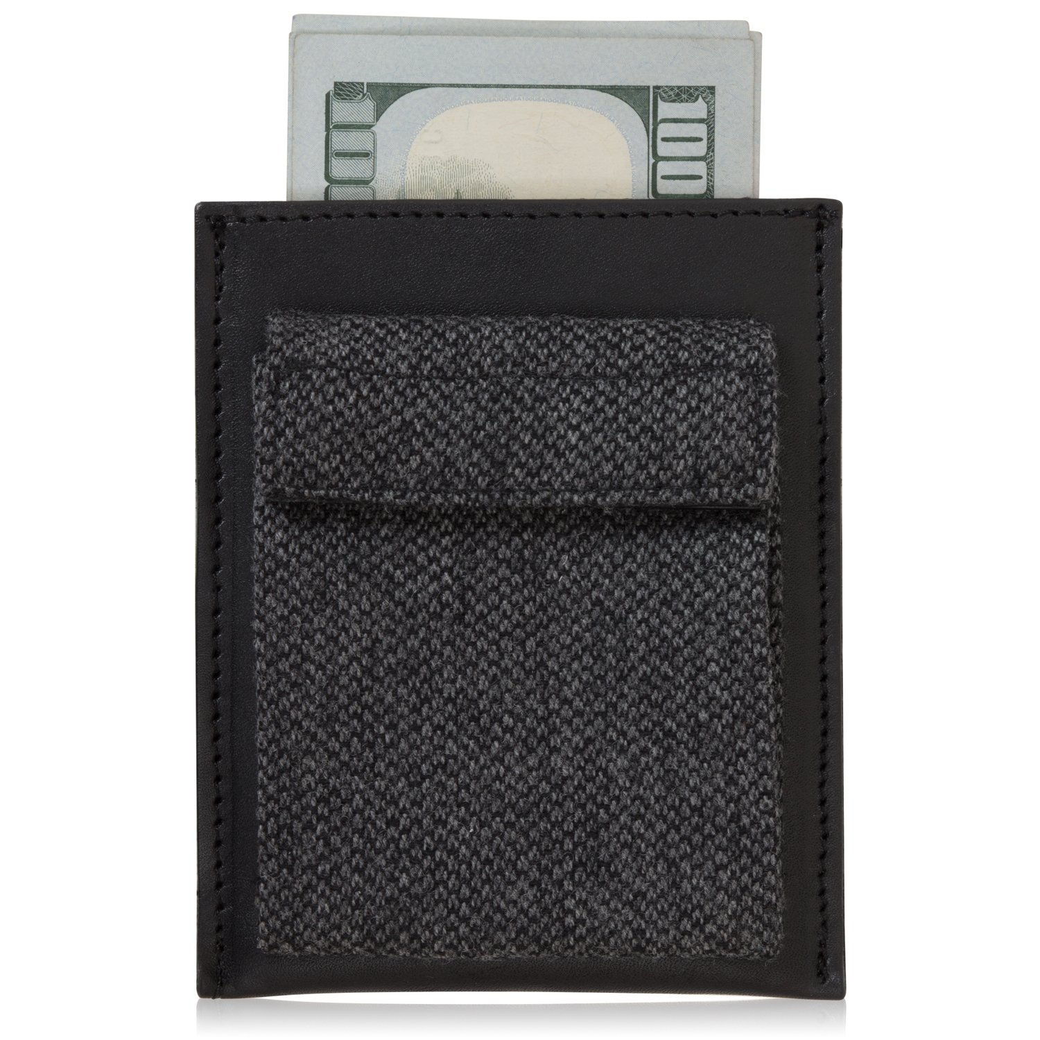 Men's Slim Wallet, Genuine Leather & Fine Tweed - Credit Card, ID & Cash Slots with Coin Pouch - Black - By Agog