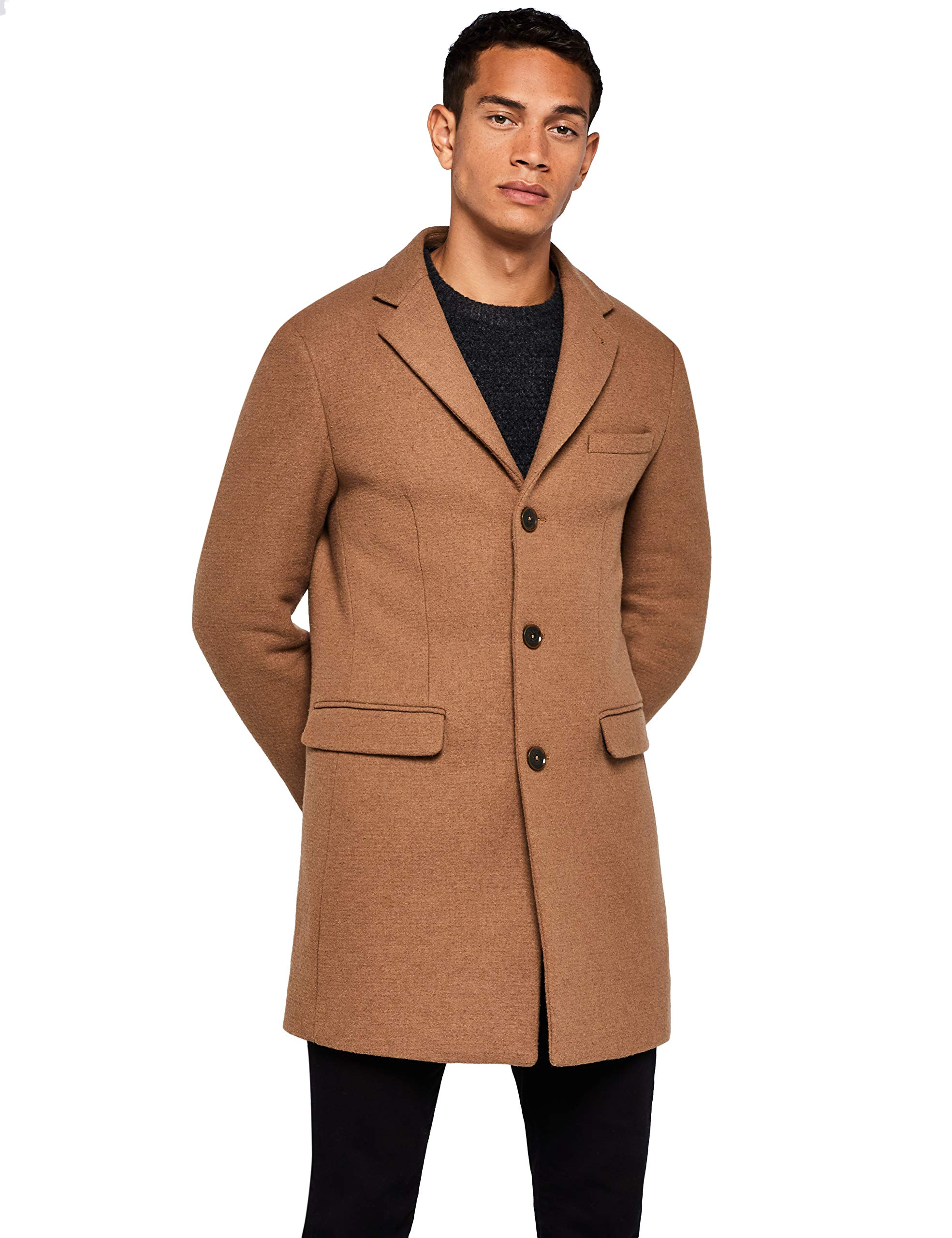 find. Men's Coat in Longline Wool, Brown (Camel), Medium by find.