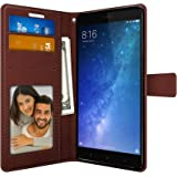 Foso 6.44-inch PU Leather Magnetic Flip Wallet Back Cover for Mi Max 2(Brown)