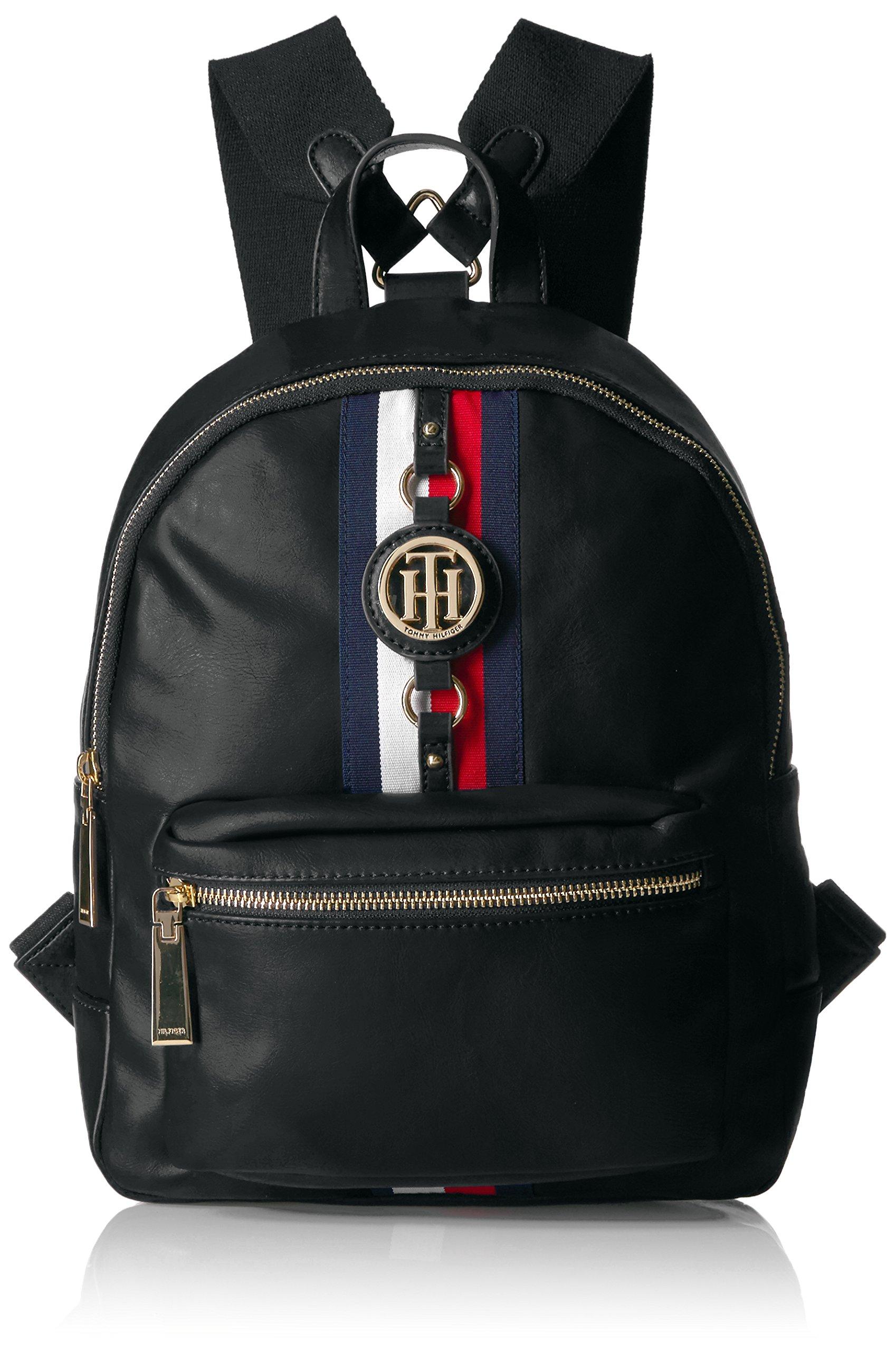 Tommy Hilfiger Backpack for Women Jaden, Black Polyvinyl Chloride