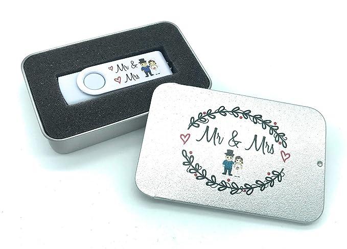 Mr & Mrs Hochzeits-Brautpaar 16 GB USB-Stick in Geschenkdose für Fotos oder Video