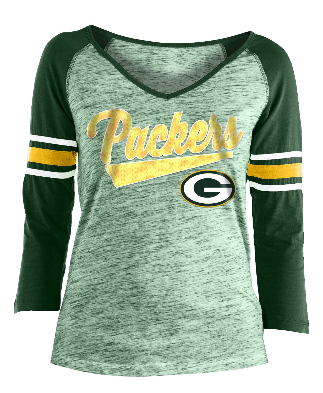 c34bdcc5 New Era Green Bay Packers Women's NFL End Zone Space Dye 3/4 Sleeve Shirt