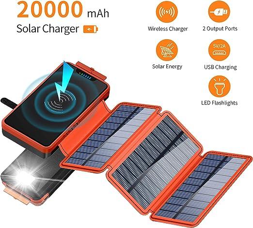 Cargador Solar, Cargador de batería Solar de 20000 mAh con 3 ...