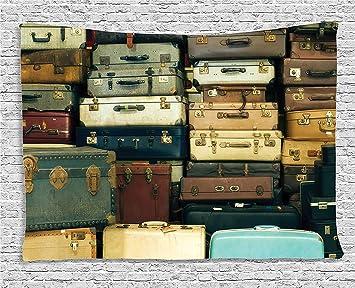 Soefipok Colección de decoración Vintage, Colorida Maleta Vintage Cuero Decorativo Antiguo Regalo Mapa de Viaje Nostalgia, Dormitorio Sala de Estar ...