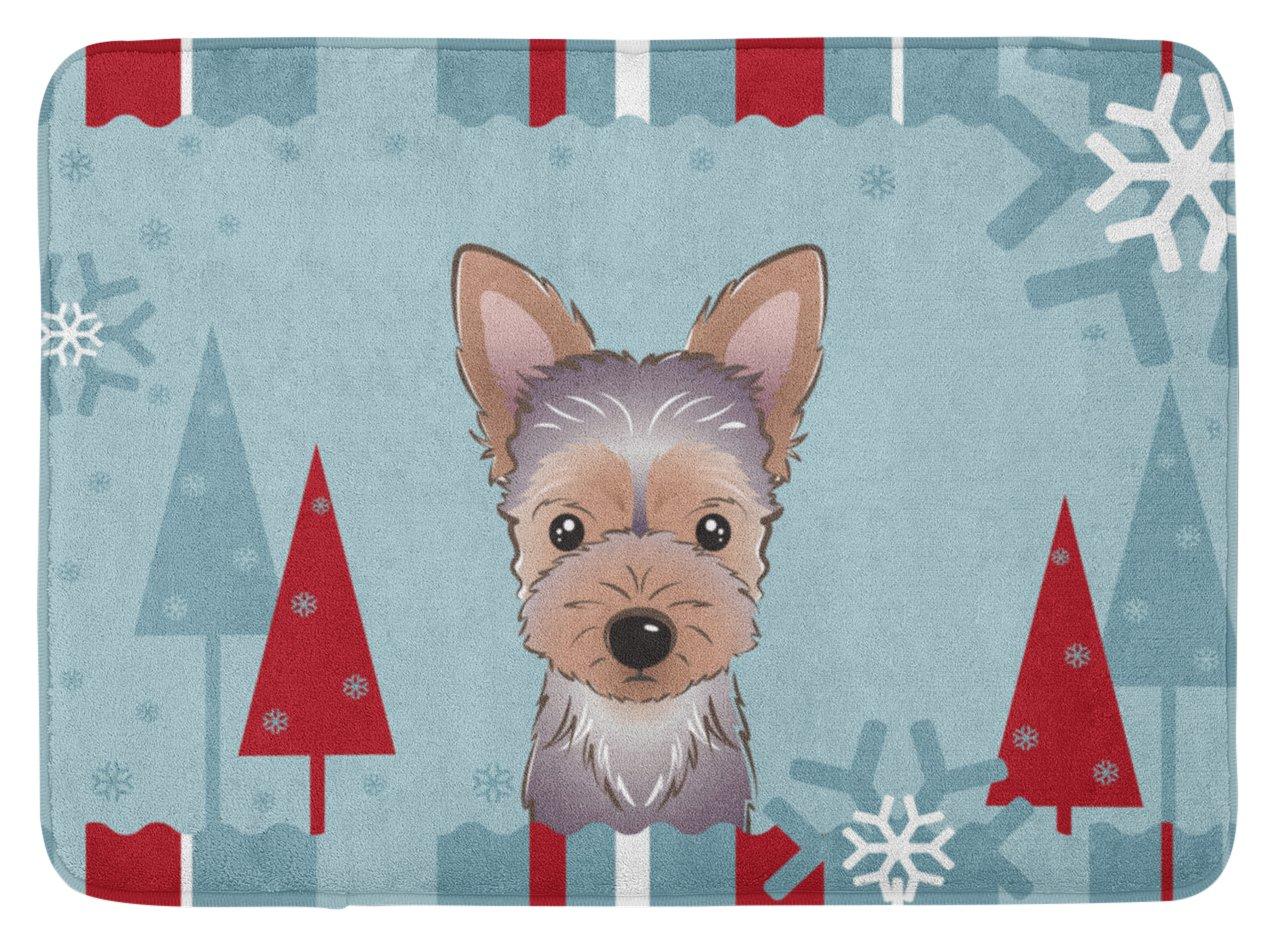 Carolines Treasures Winter Holiday Yorkie Puppy Floor Mat 19 x 27 Multicolor