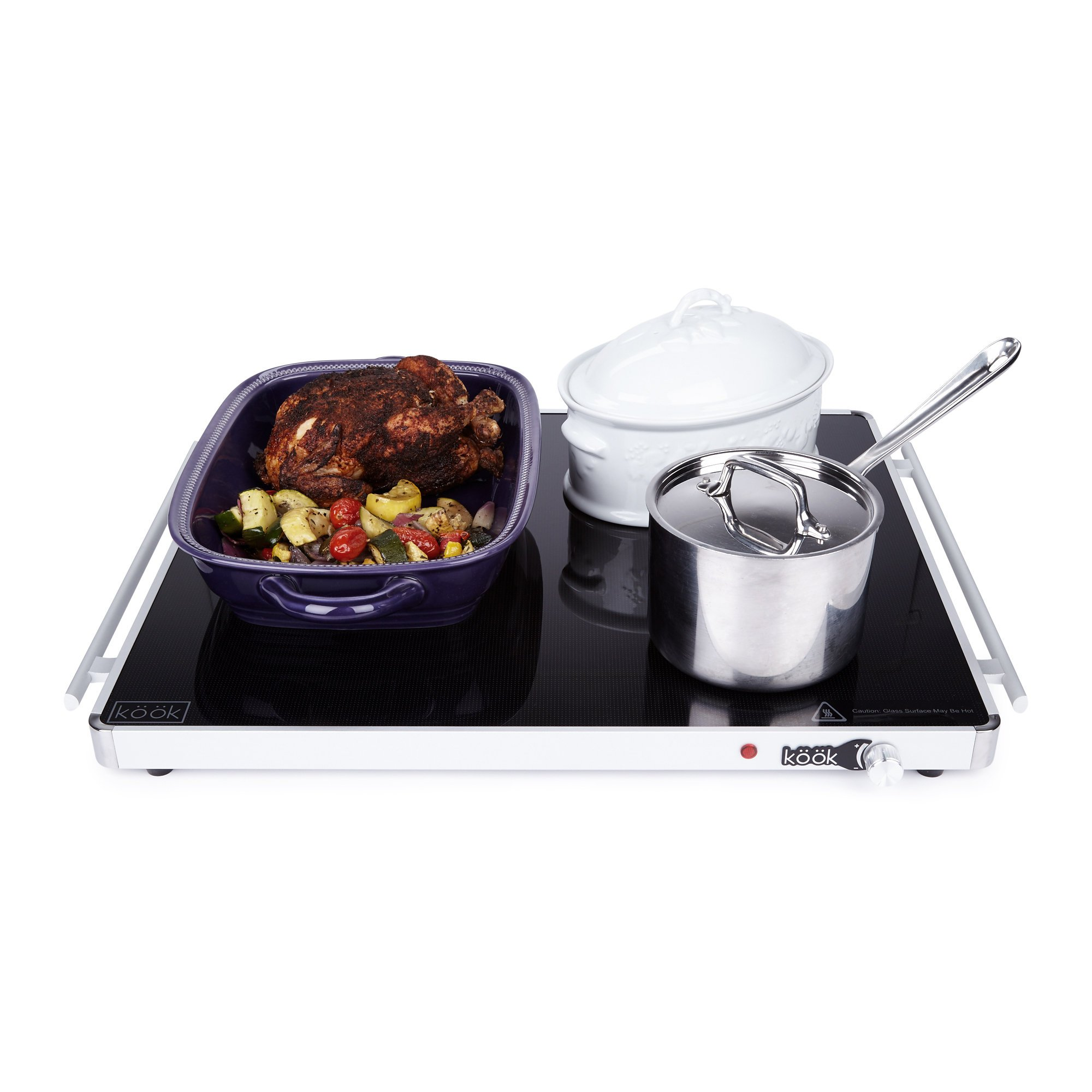 KooK Buffet Warming Tray, Food Warmer Hot Plate – Glass Top, Extra Large 24'' x 20'' 300-Watt – With Adjustable Temperature Control Knob by KooK (Image #6)