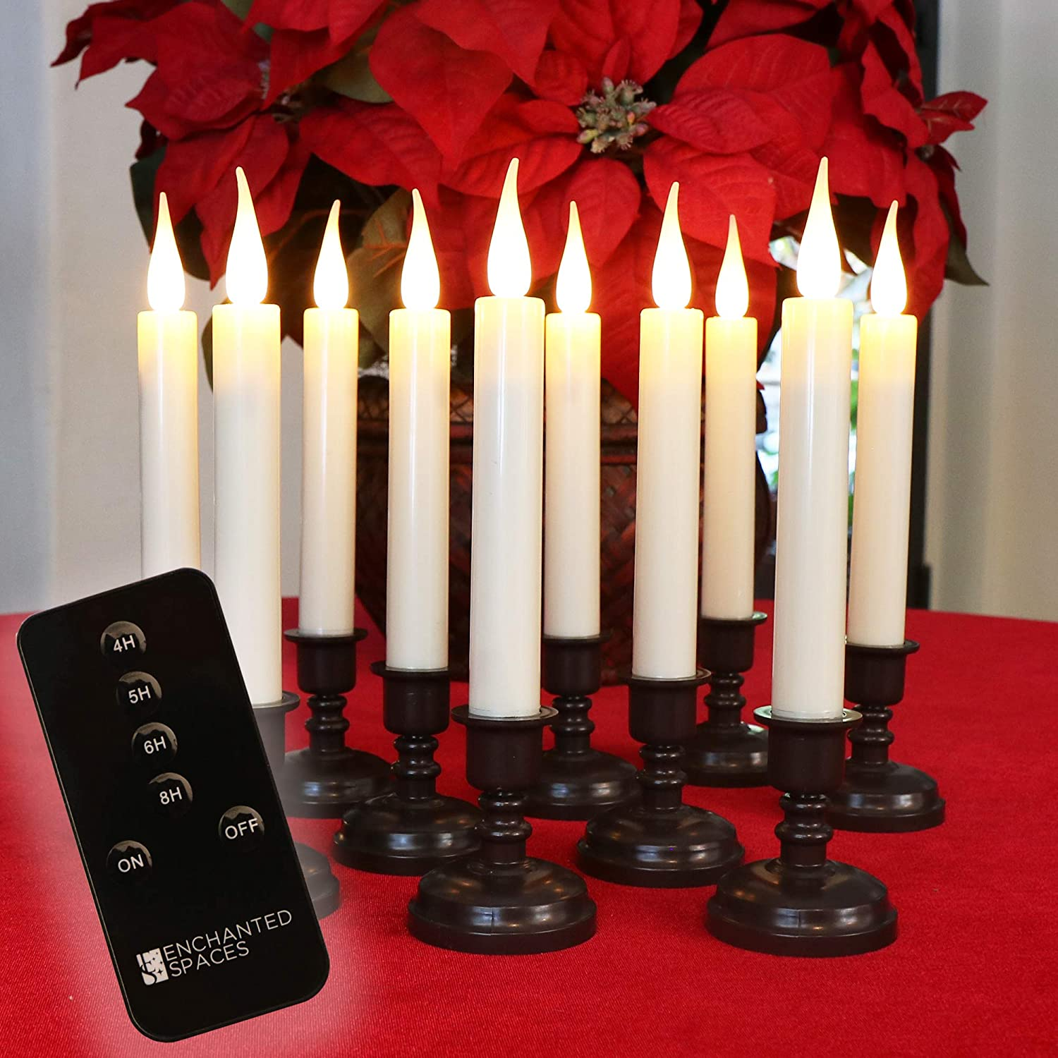 Set of 10 Flameless Battery Operated LED Ivory Taper Window Candles with Daily Timer, Removable Bronze Candle Stands, Window Suction Cups, Remote Control and 20 AA Batteries Included