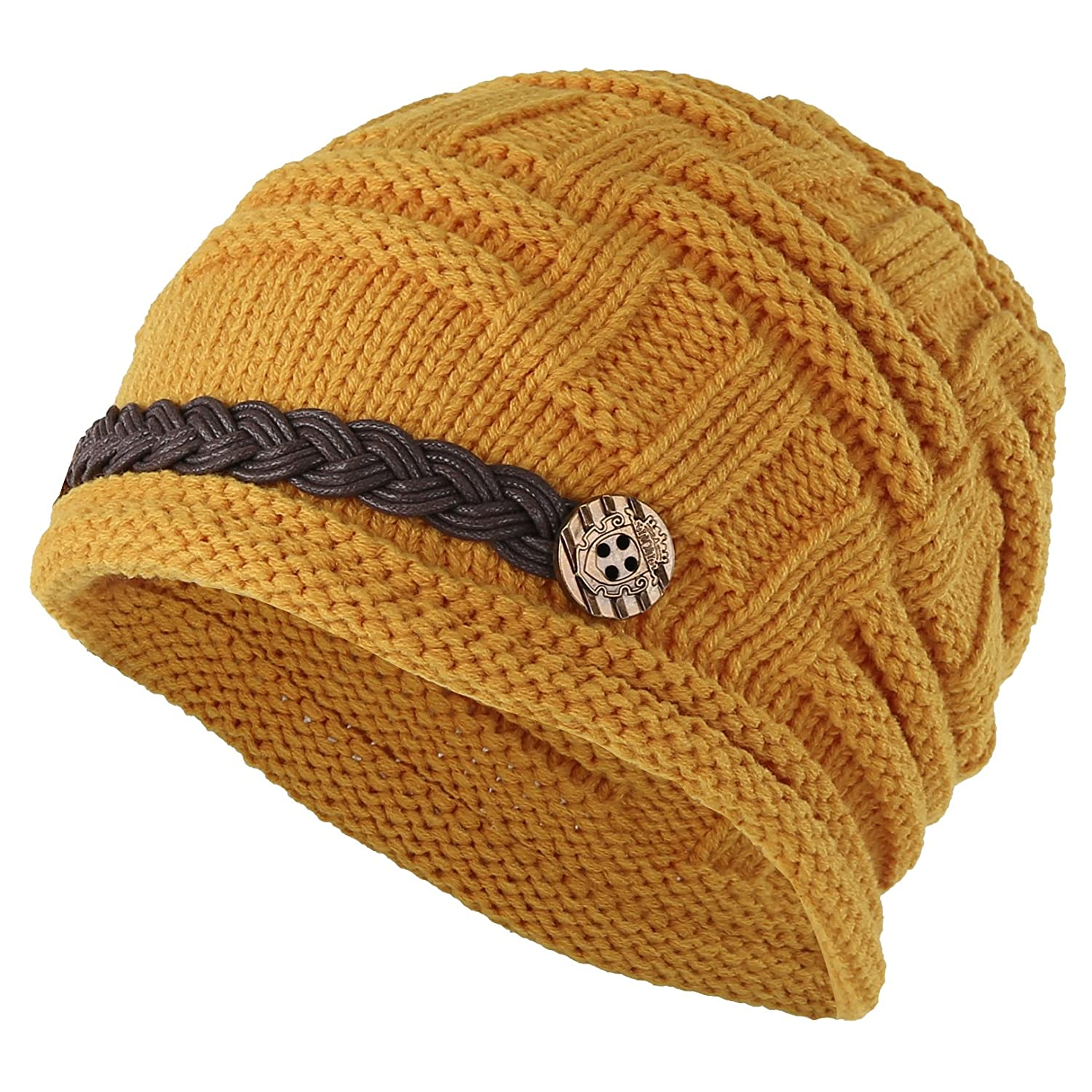 7e1e6d27ef20 ELACUCOS Women Winter Beanie Cabled Checker Pattern Knit Hat Button Strap  Cap EHA0004