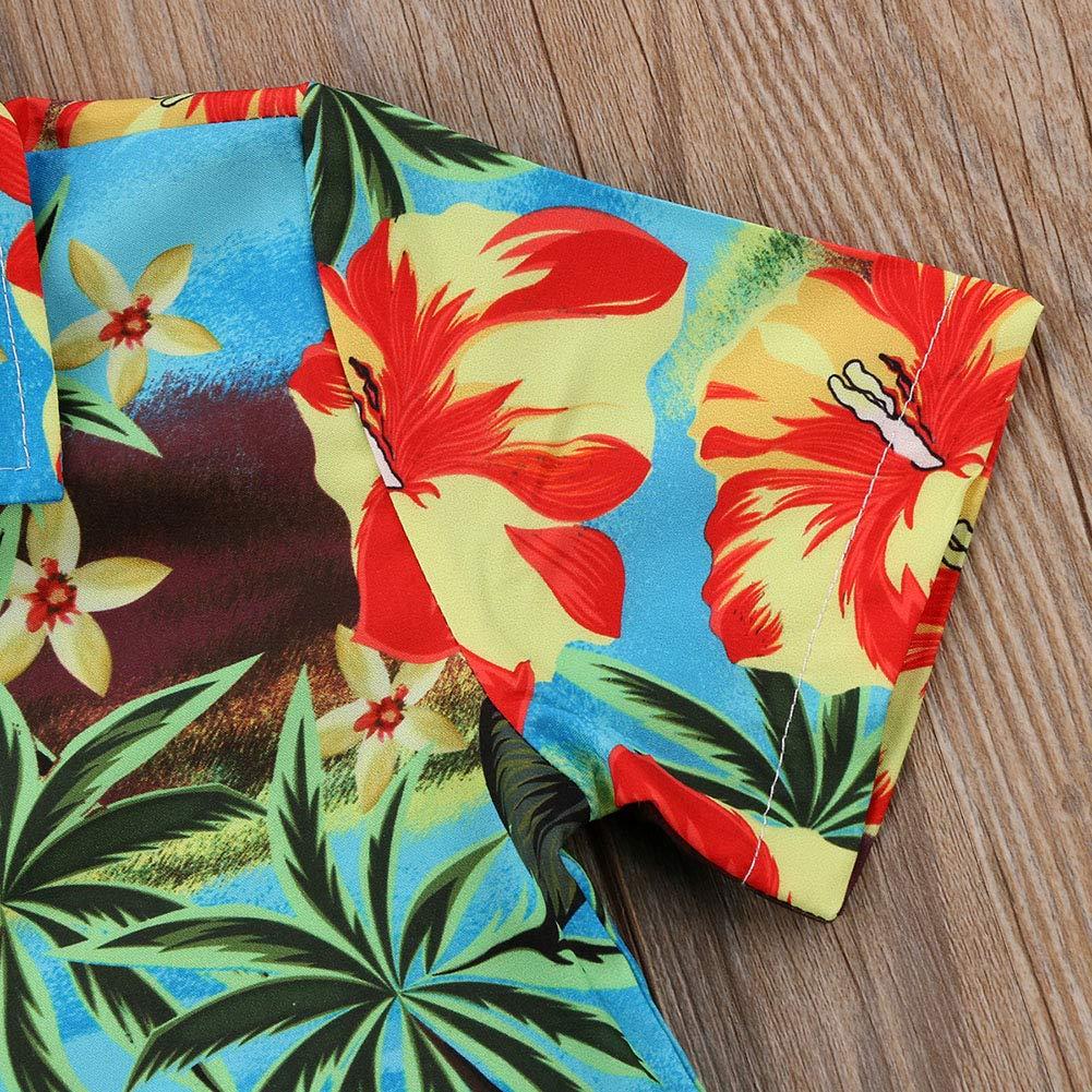 Jamlynbo Toddler Kids Boys Button Down Casual Short Sleeve Summer Printed Hawaiian Shirts Green