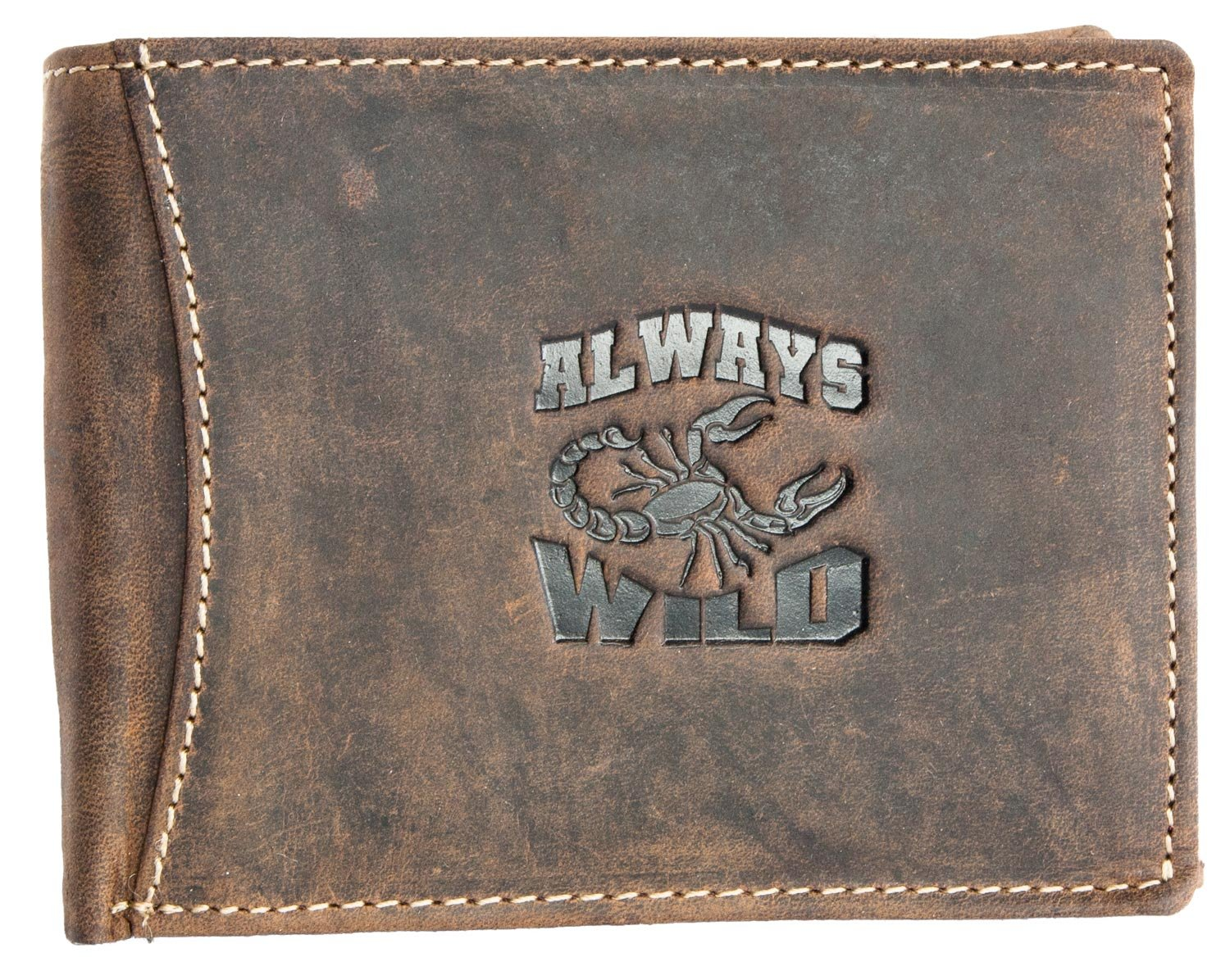 e8a3762e0701 Always Wild Men's Hunter Style Genuine Leather Wallet With Scorpion ...