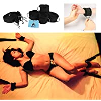 High Quality Under Bed Restraints for Sex Play: Adjustable Straps. Furry Cuffs handcuffs. Bondage: Ankles Wrists feet legs. BDSM kit. For adult men & women.