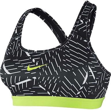 Nike Pro Classic Bash - Sujetador Deportivo para Mujer Negro/Volt ...