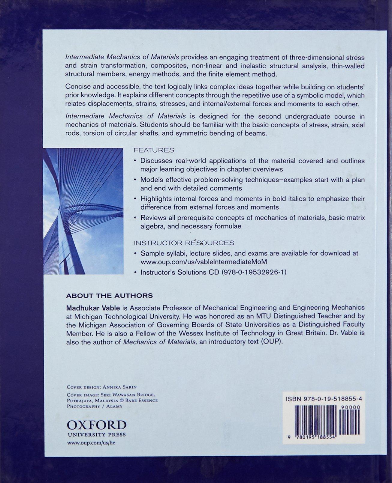 Intermediate Mechanics of Materials: Madhukar Vable: 9780195188554: Books -  Amazon.ca