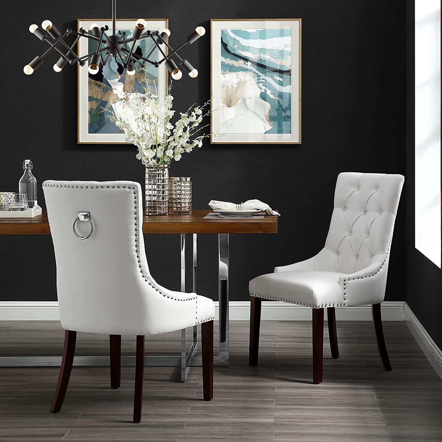 InspiredHome White Leather Dining Chair - Design: Alberto | Set of 2 | Tufted | Ring Handle | Chrome Nailhead Finish