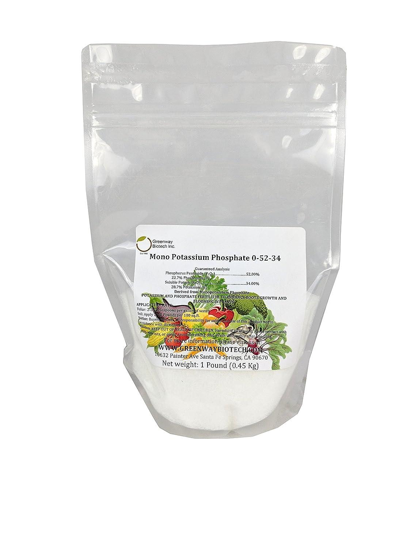 "Monopotassium Phosphate Fertilizer 0-52-34 100% Water Soluble Hydroponics""Greenway Biotech Brand"" 1 Pound"