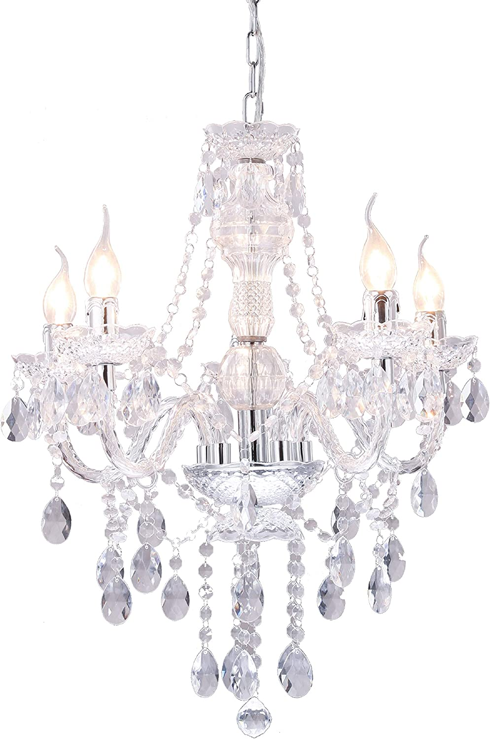 Crystal Chandeliers Modern White Light Fixtures Ceiling Chandelier with Acrylic 5-Lights Clear Flush Mount Ceiling Lighting for Dining Room, Kids Rooms, Bedroom,Girls Room,Reading Room…