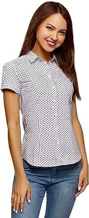 oodji Ultra Mujer Camisa de Algodón de Manga Corta, Blanco, ES 34 / XXS: Amazon.es: Ropa y accesorios