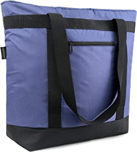 Navy Blue Collapsible Cooler Bags with Pockets Insulated Extra-Large Shopping Bag with Handle Sturdy Leakproof Thermal Bags for Groceries for Frozen Foods Heavy Duty Waterproof Food Delivery Tote Bags