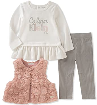 abf2b844ba1 Amazon.com: Calvin Klein Baby Girls' 3 Pc Vest Sets: Clothing