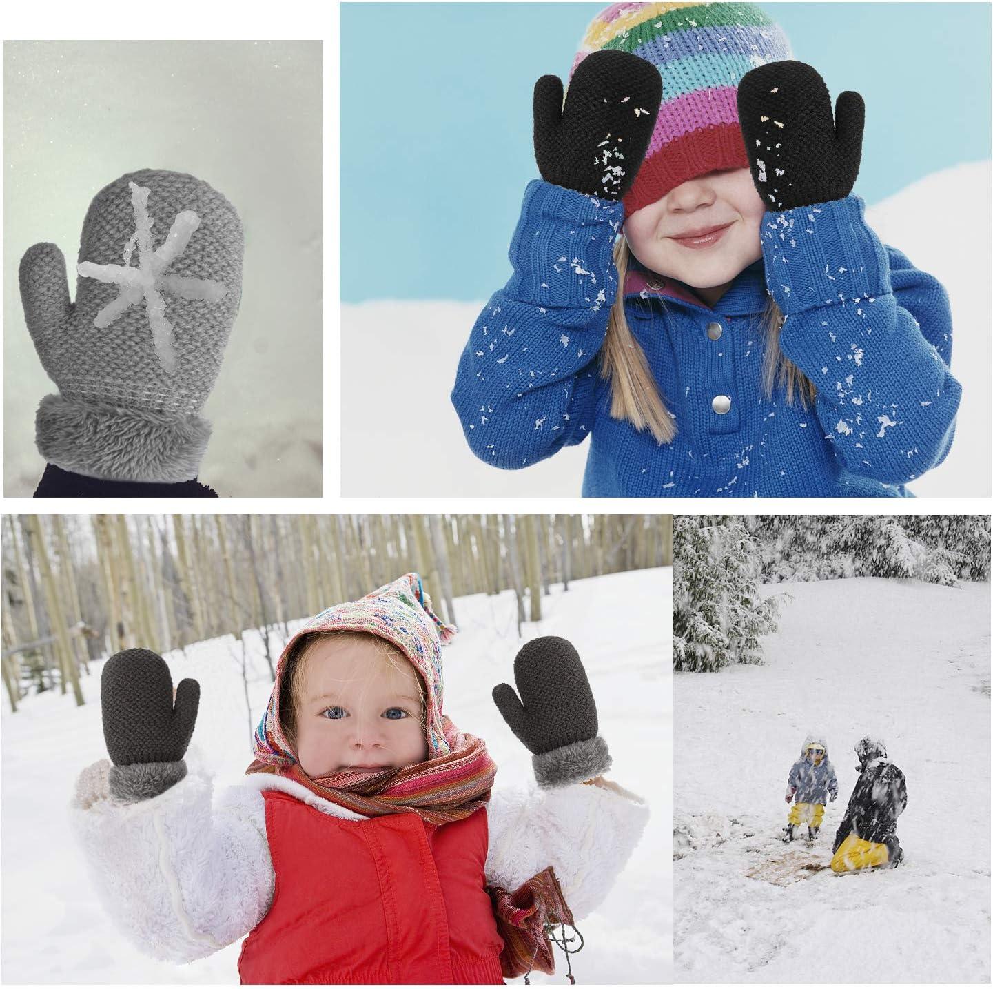 3 Paires Hiver Enfants Gar/çons Filles Sherpa Doubl/é Tricot/és Mitaines AYPOW Toddler Gants Chauds