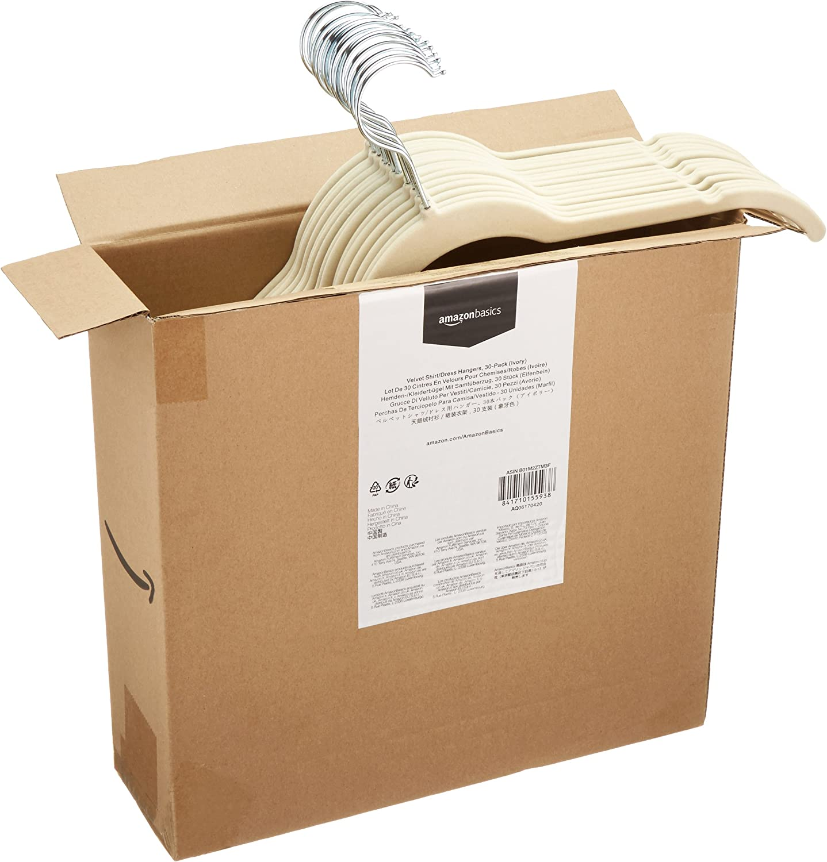Basics Paquete de 50 Perchas de terciopelo para camisas//vestidos Marfil