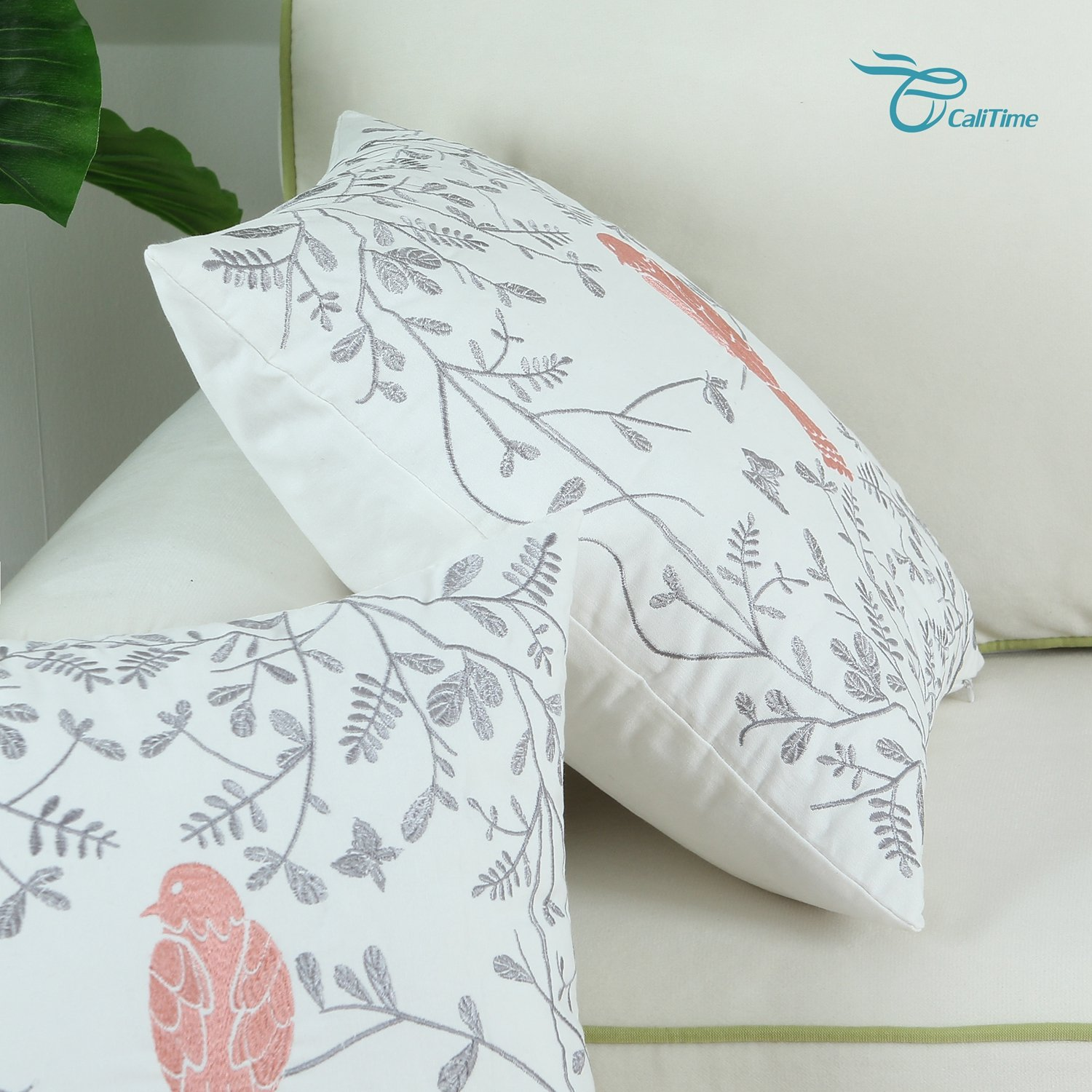 CaliTime Pack of 2 Cotton Throw Pillow Cases Covers for Bed Couch Sofa Cute Bird in Gray Garden Embroidered