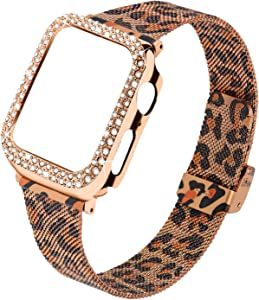 Joyozy bands Compatible With Apple Watch 40mm,Women Bling Protective Crystal Diamond Case with Loop Mesh Strap For iwatch Series 6/SE/5/4(No Tool Needed)Only 40mm iwatch (Leopard, 40MM)