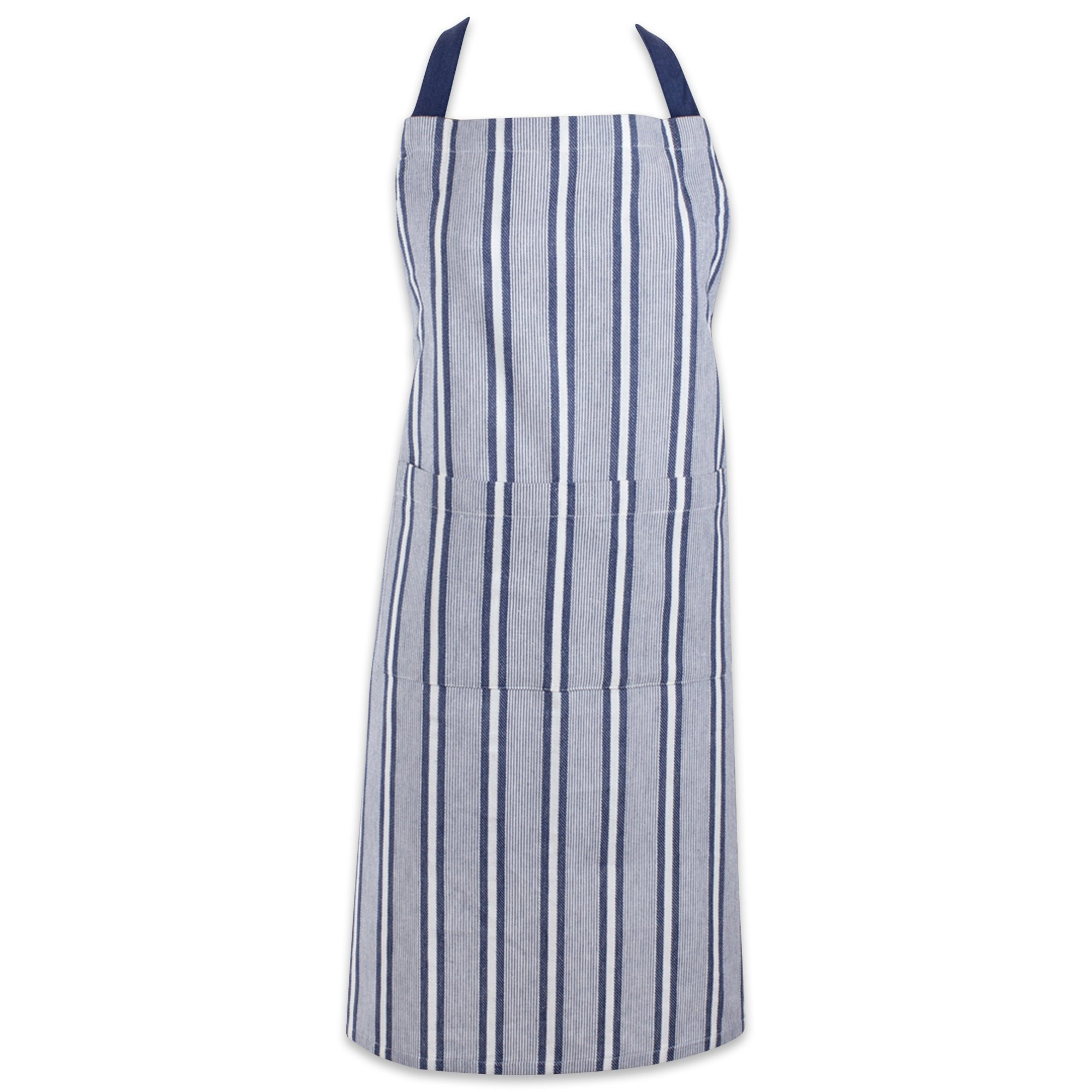 DII Cotton Adjustable Stripe Chef Bib Apron with Pockets and Extra Long Ties, 32 x 28'', Professional Men and Women Restaurant Kitchen Apron for Cooking, Baking, BBQ-French Blue