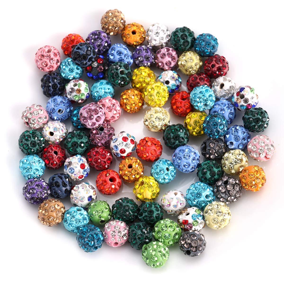 SUPVOX 100 Unids Disco Cuentas de Cristal pedrería allanar Arcilla Espaciador Bolas de Bolas para la joyería Que Hace 10 mm (Color Surtido)