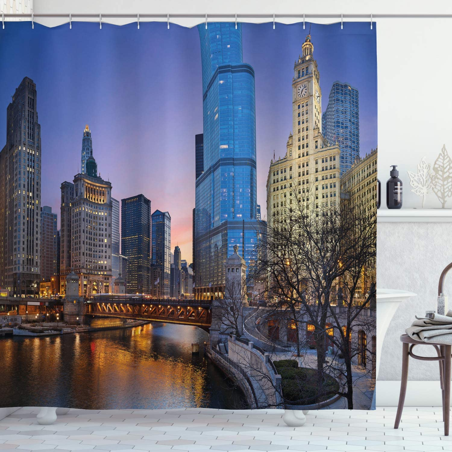 Ambesonne Landscape Shower Curtain, USA Chicago Cityscape with Rivers Bridge and Skyscrapers Cosmopolitan City Image, Cloth Fabric Bathroom Decor Set with Hooks, 75