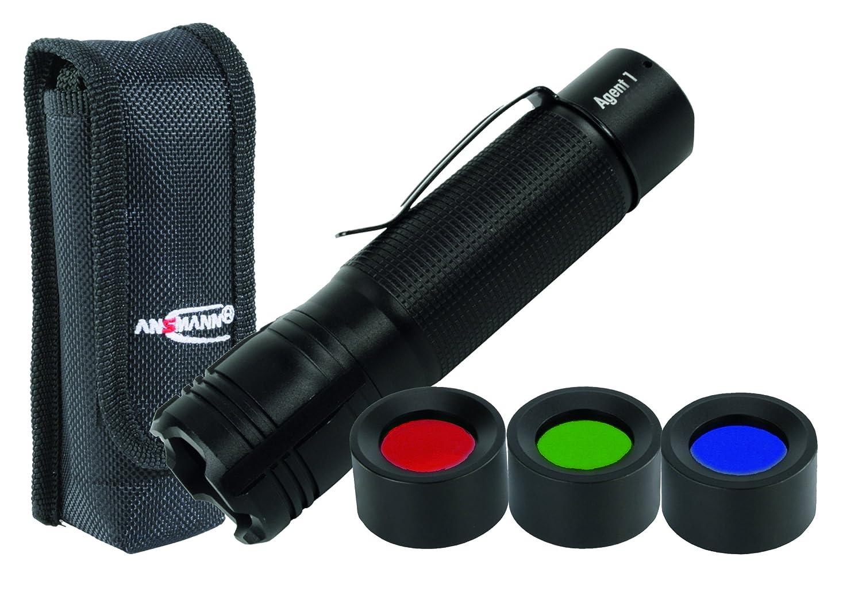 Ansmann Agent 1 Taschenlampe + Holster + Filter, Teller, Aluminium, schwarz,